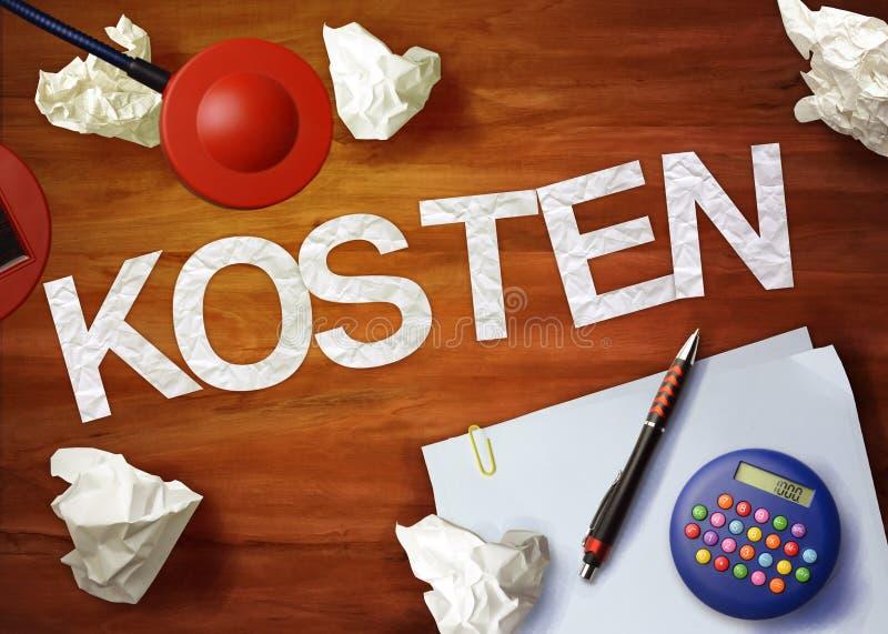 O escritório da calculadora do memorando do desktop de Kosten pensa organiza fotos de stock