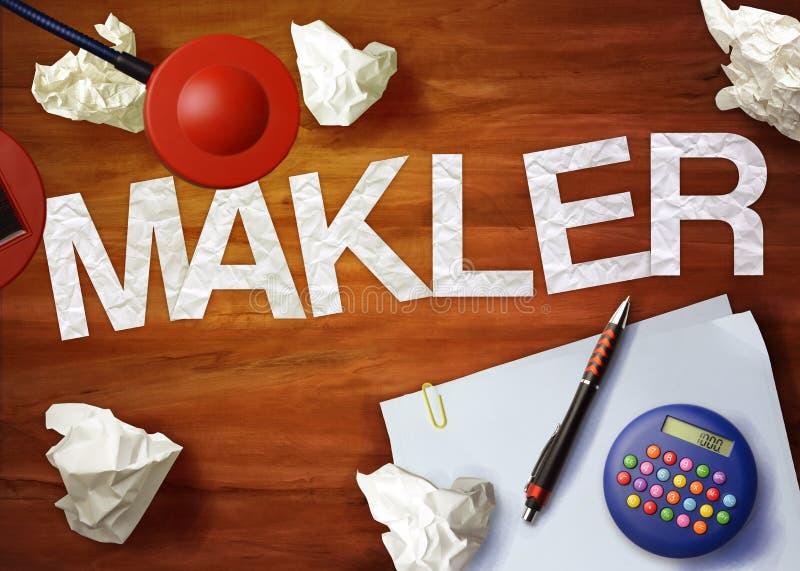 O escritório da calculadora do memorando do desktop de Makler pensa organiza imagens de stock