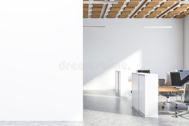 O escritório de madeira do espaço aberto do teto, zomba acima da parede ilustração do vetor