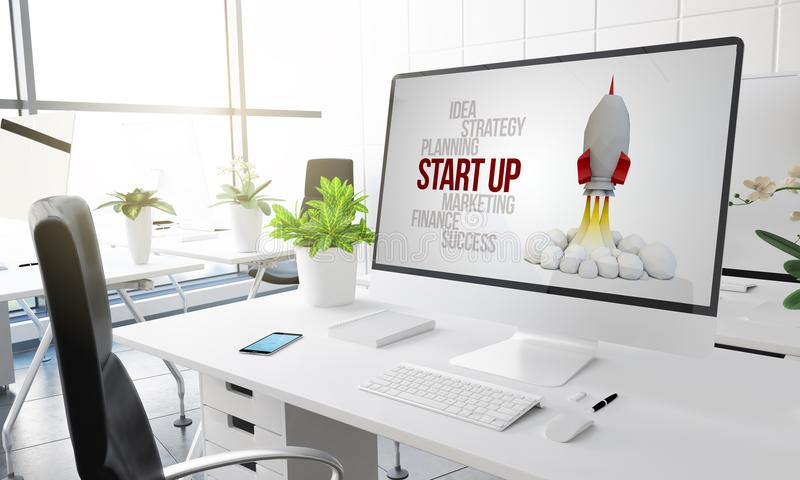 o escritório do computador começa acima ilustração stock