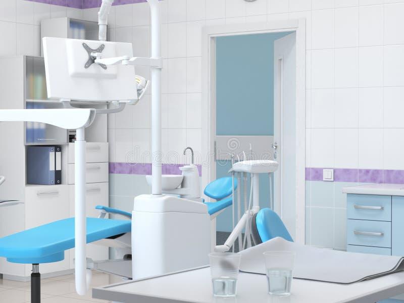 o escritório do dentista moderno da rendição 3D ilustração stock