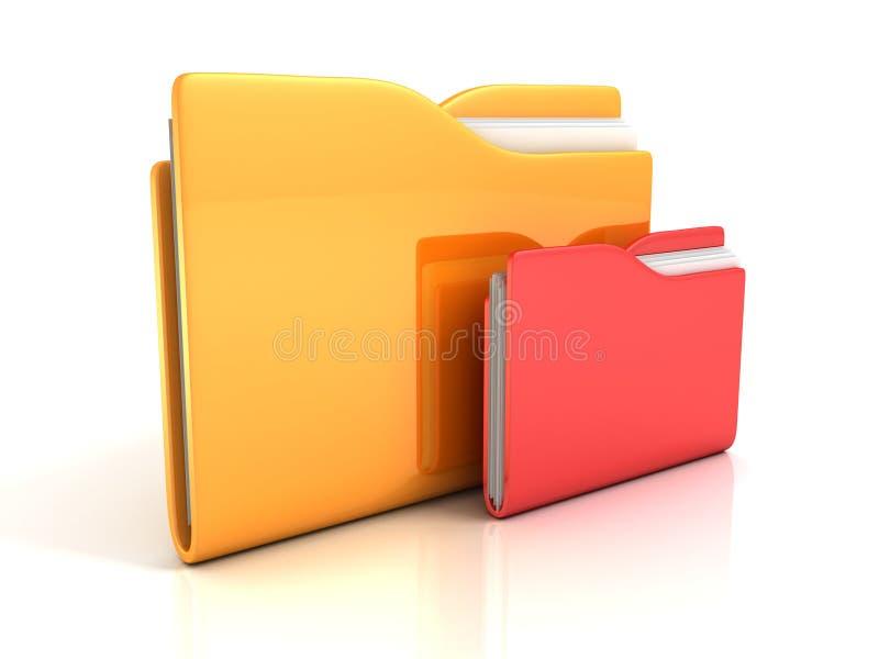 O escritório documenta o ícone vermelho amarelo dos dobradores no branco ilustração stock