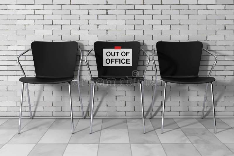 O escritório moderno de Simpne preside um com fora de sinal do escritório 3d arrancam ilustração do vetor