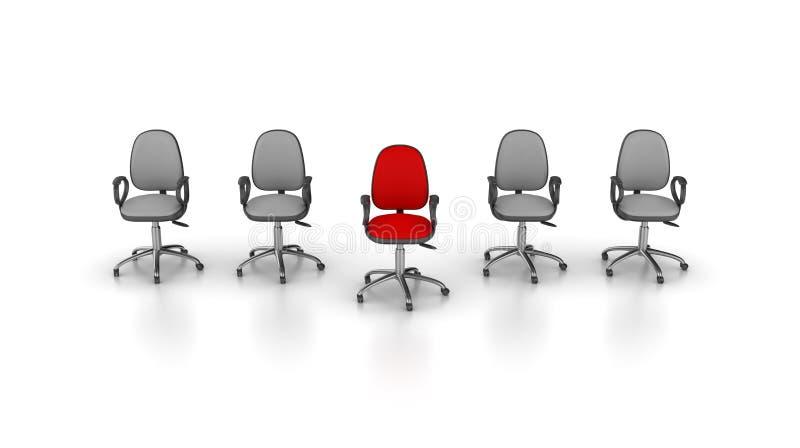 O escritório preside a fileira, um vermelho ilustração stock