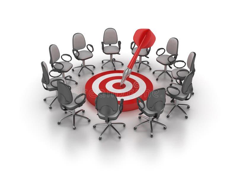 O escritório preside a reunião com alvo e dardo ilustração do vetor