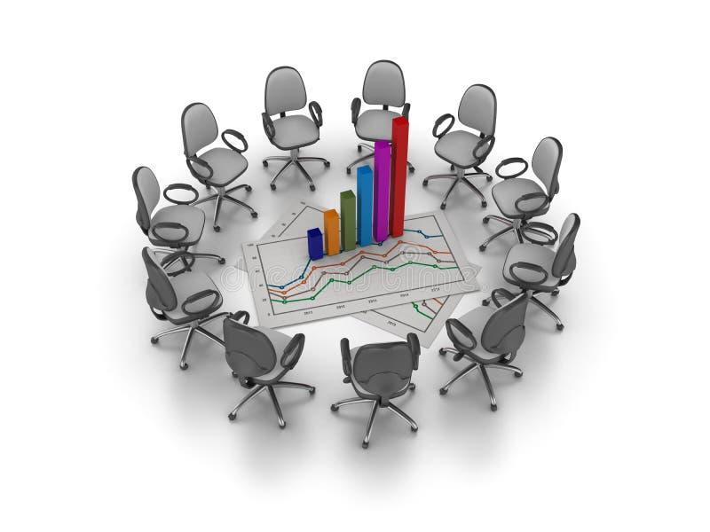 O escritório preside a reunião com as cadeiras do escritório que encontram o gráfico da carta de crescimento ilustração do vetor