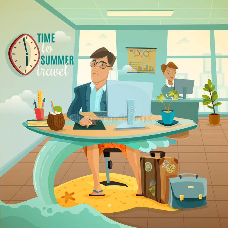 O escritório sonha a ilustração das férias ilustração stock