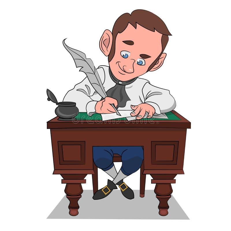 O escritor cria ilustração do vetor