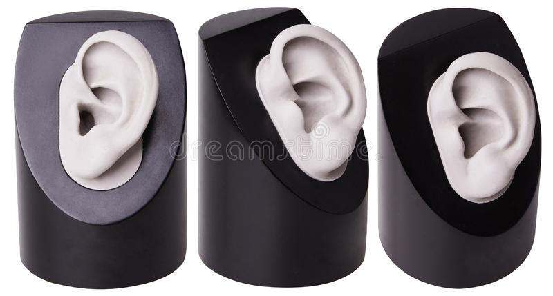O escudo completo da prótese auditiva isolou-se A escolha do cuidado da audição da prótese auditiva Orelha plástica Acessório OTO imagens de stock