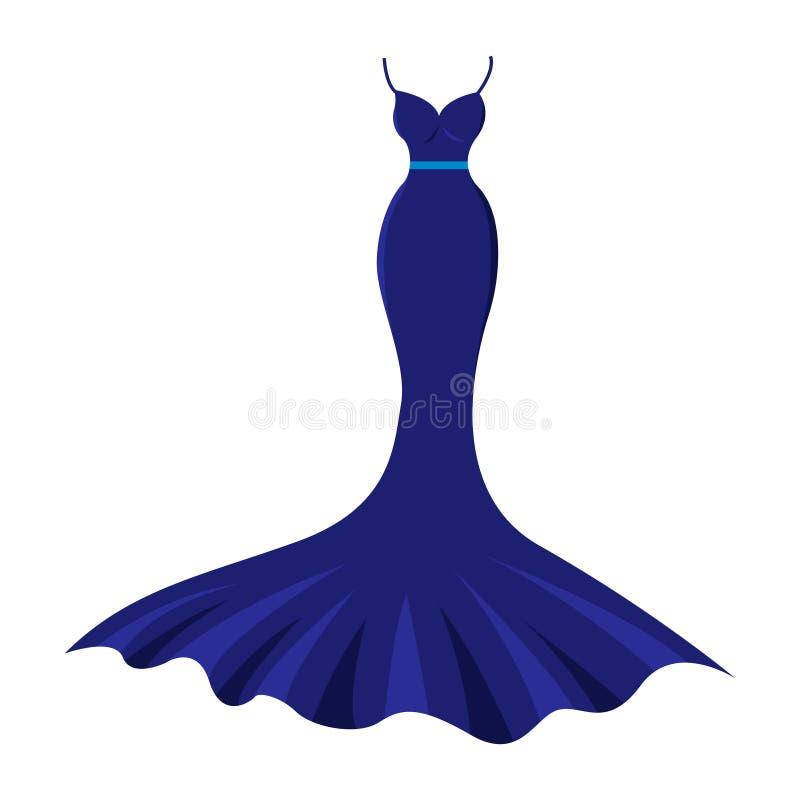 O escuro agradável longo - vestido de nivelamento azul ilustração stock