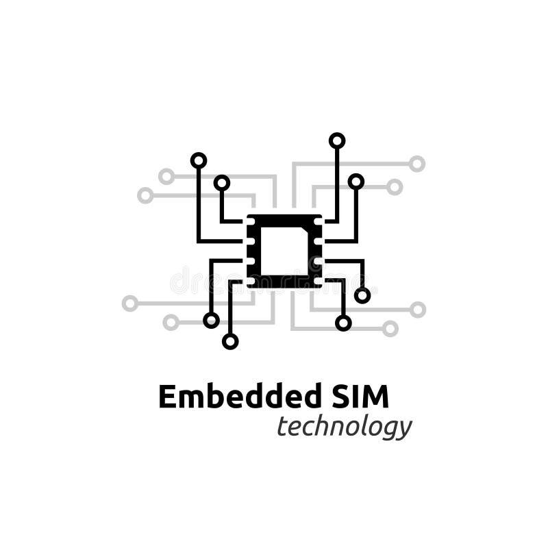 o eSIM encaixou o conceito do símbolo do ícone da rede do cartão de SIM tecnologia de comunicação celular móvel da microplaqueta  ilustração do vetor