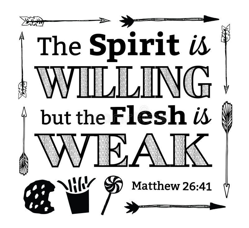 O espírito é disposto mas a carne é emblema fraco ilustração royalty free