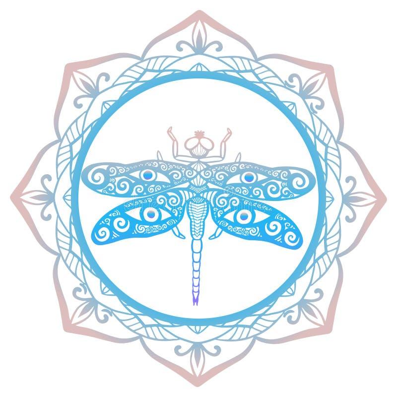 O espírito animal do totem, libélula estilizado com swirly as asas projeta e os olhos humanos em suas asas moldadas com fundo flo ilustração do vetor