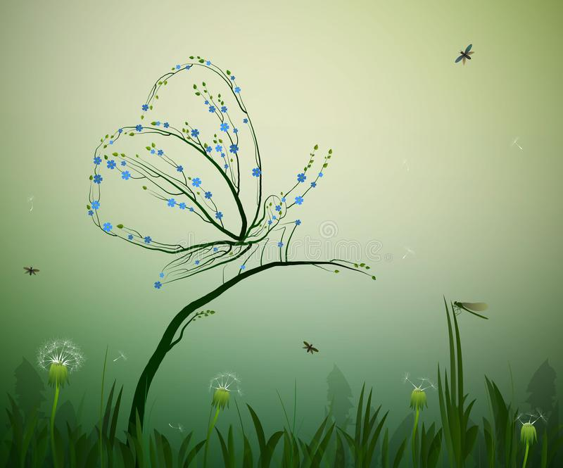 O espírito do conceito do verão, borboleta olha como ramos de árvore com flores esquece-me não, grama, folhas, dentes-de-leão ilustração stock