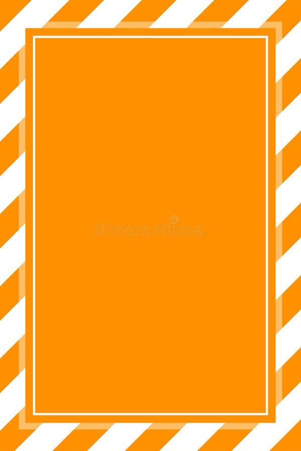 O espaço branco alaranjado da cópia do fundo do molde do quadro da listra do sinal de aviso, quadro da bandeira listrou a laran ilustração do vetor