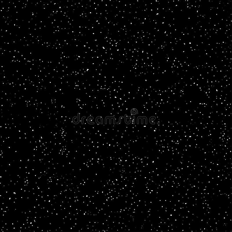 O espaço, céu escuro estrelado, teste padrão sem emenda, textura preto e branco Pulverização caótica do ponto Vetor ilustração do vetor