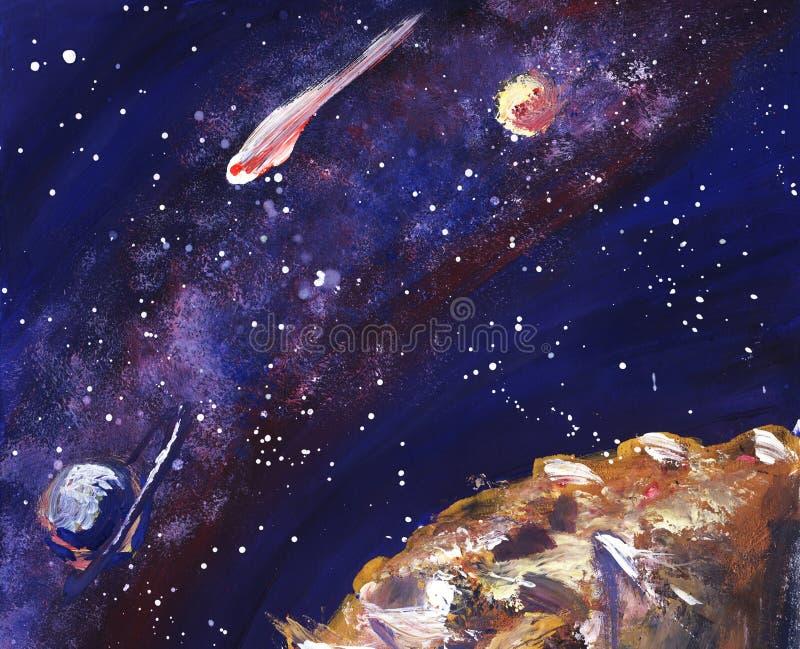 O espaço com a Via Látea, as estrelas e os planetas Ilustração pintado à mão ilustração do vetor