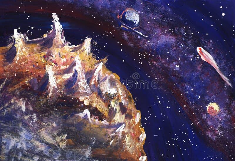 O espaço com a Via Látea, as estrelas e os planetas Ilustração pintado à mão ilustração royalty free