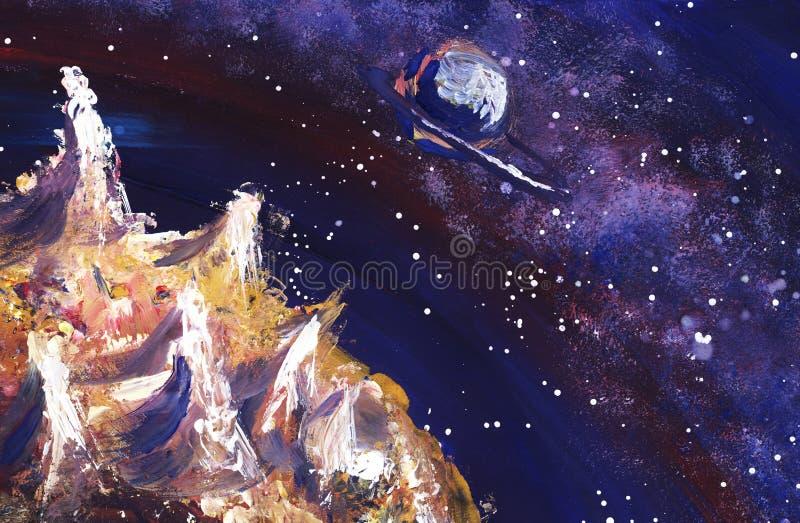 O espaço com a Via Látea, as estrelas e os planetas Ilustração pintado à mão ilustração stock