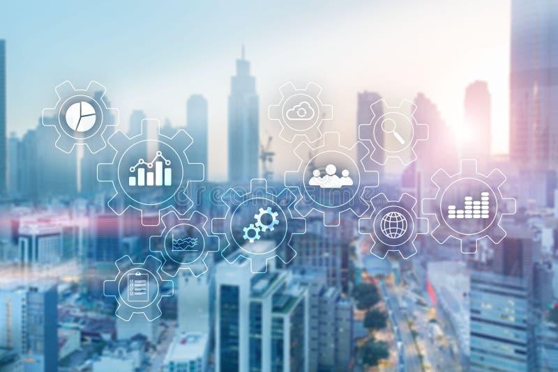 O espaço de escritórios borrado Diagrama do sumário do processo da tecnologia do negócio com engrenagens e ícones Tecnologia dos  ilustração stock