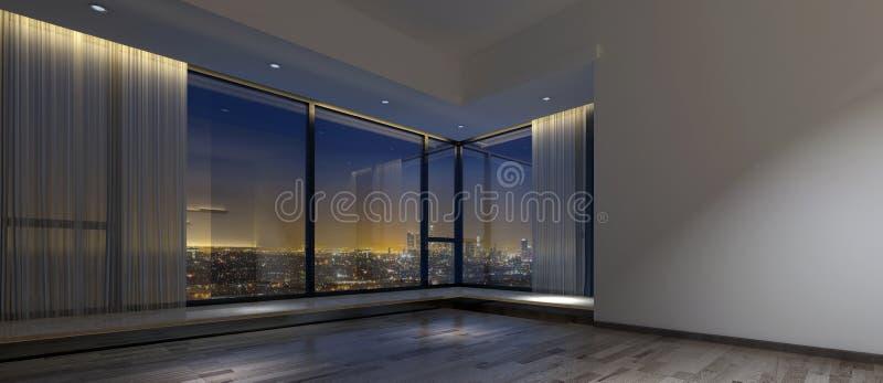 O espaço de escritórios escuro vazio com vista da cidade ilustração royalty free