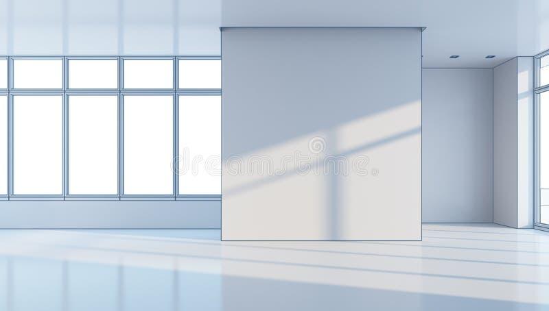 O espaço de escritórios vazio, rendição 3d ilustração do vetor
