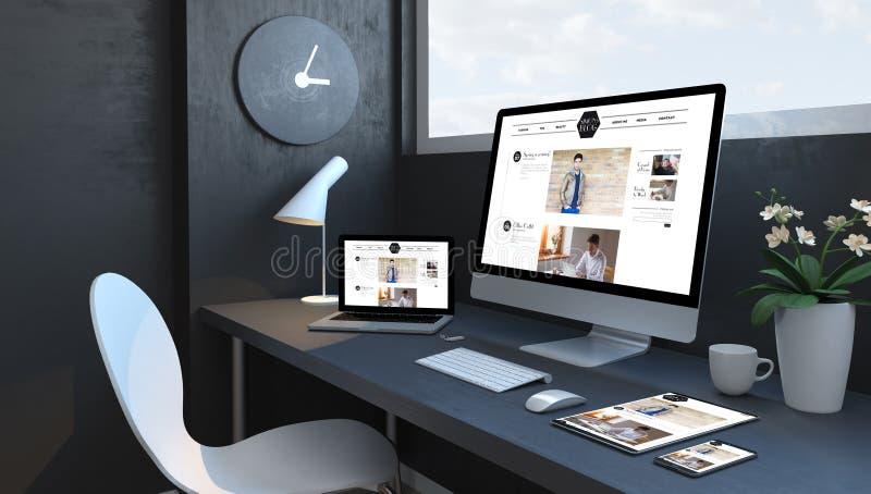 O espaço de trabalho dos azuis marinhos com dispositivos responsivos publica em blogs Web site responsivo do projeto ilustração do vetor