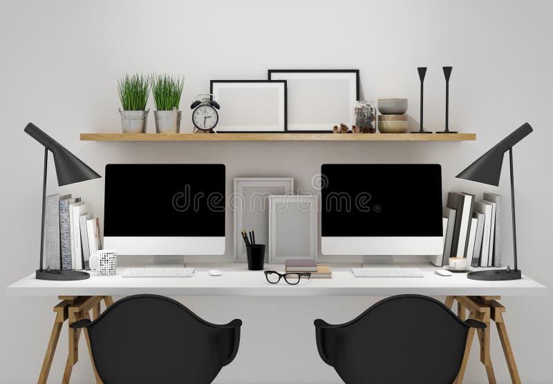 O espaço de trabalho moderno para o molde dois, zomba acima do fundo ilustração stock