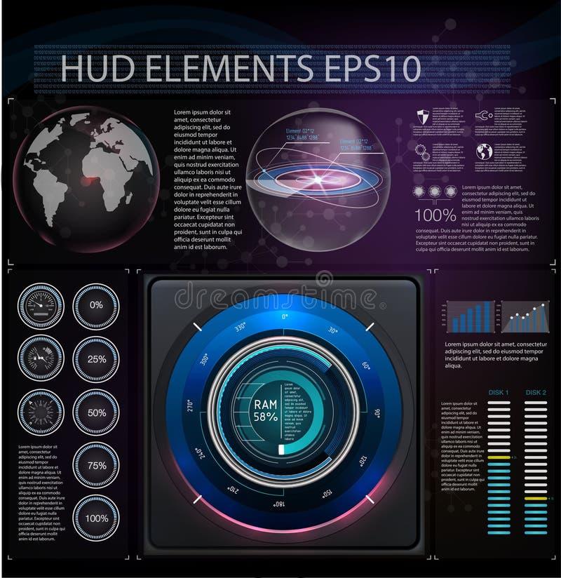 O espaço do fundo de Hud Elementos de Abstreact Grupo de elementos o tema fantástico Exposição da cabeça-acima Ilustração do veto ilustração royalty free