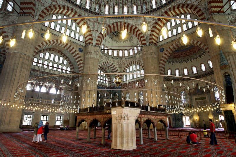 O espaço interior do camii da mesquita de Selimiye em Edirne em Turquia do norte fotografia de stock