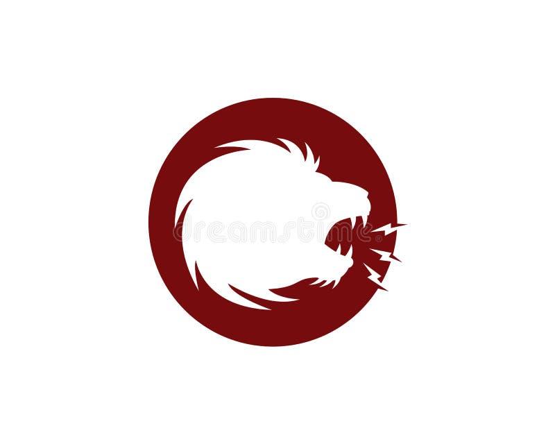 O espaço negativo de um leão ruge com um raio da boca no logótipo do círculo vermelho ilustração do vetor