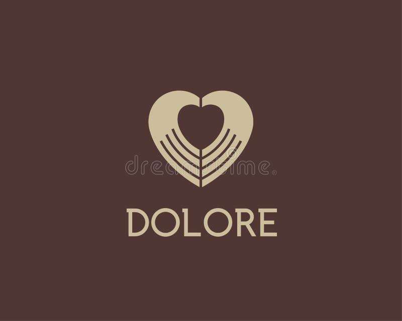 O espaço negativo do coração entrega o logotype do vetor Símbolo médico do sinal da caridade Projeto do ícone do logotipo da mass imagem de stock