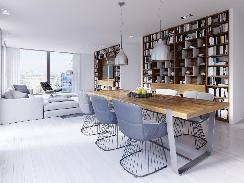 O espaço para refeições com uma tabela moderna do desenhista com seis cadeiras em um estilo do sótão Grandes prateleiras incorpor ilustração do vetor