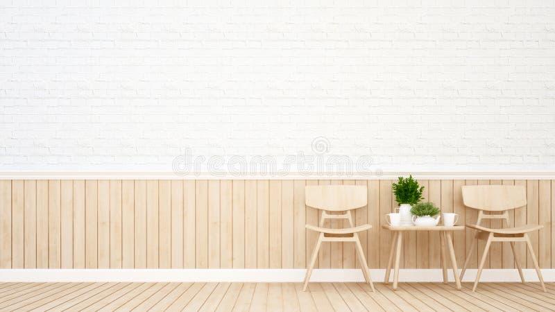 O espaço para refeições na cafetaria ou no restaurante - rendição 3D ilustração stock