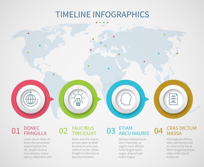 O espaço temporal da carta de negócio com etapas do processo Molde do infographics do diagrama de fluxo do progresso do vetor ilustração royalty free