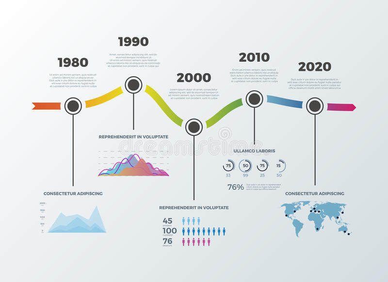 O espaço temporal da estrada infographic para opções do número do diagrama da bandeira da disposição dos trabalhos ilustração stock