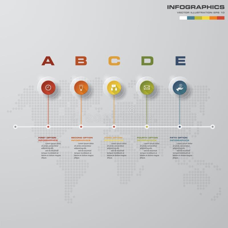 o espaço temporal de 5 etapas infographic com fundo global do mapa para o projeto de negócio ilustração do vetor