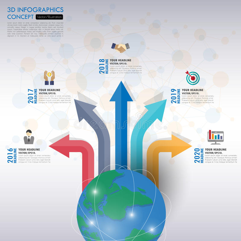 O espaço temporal do conceito do negócio Molde de Infograph, papel realístico 5 ilustração stock