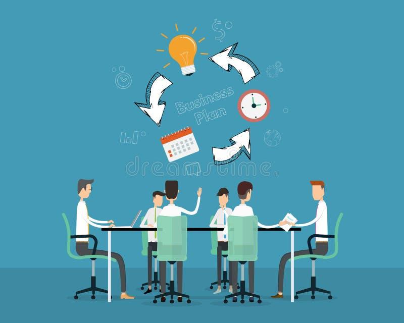 O espaço temporal do projeto do planeamento de ana da reunião de negócios dos povos ilustração stock