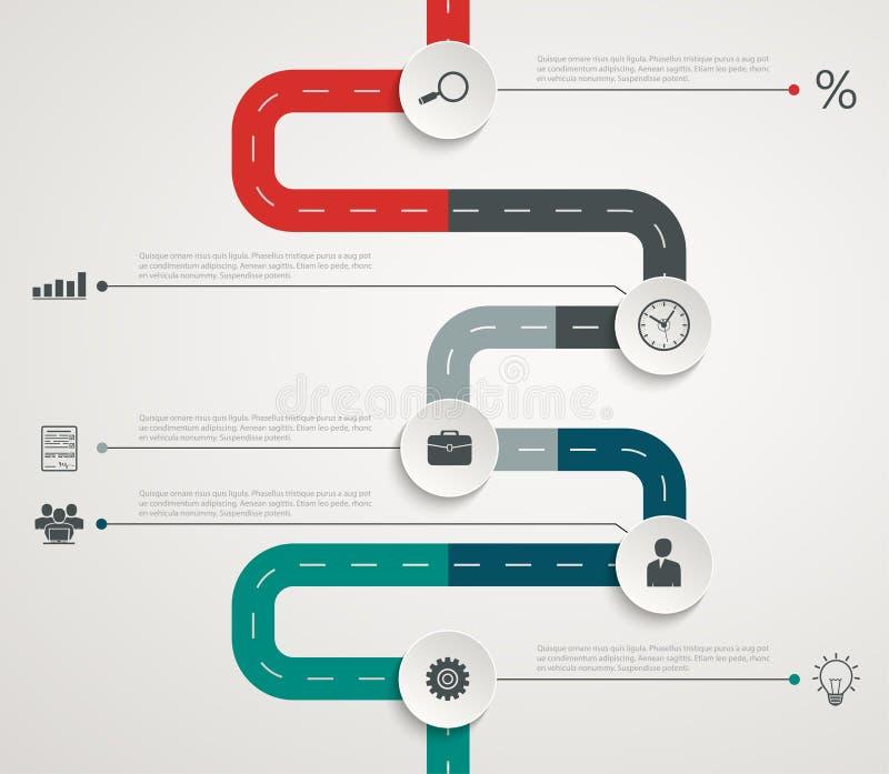 O espaço temporal infographic da estrada com ícones Estrutura vertical ilustração do vetor