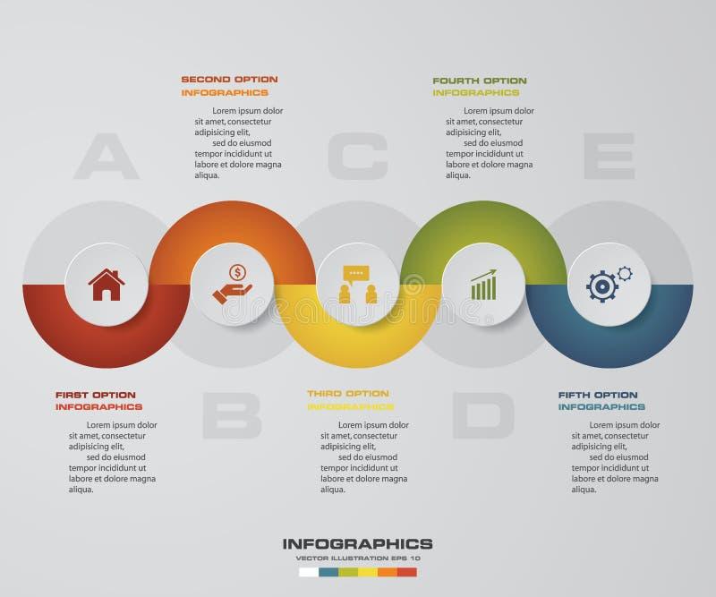 o espaço temporal Infographic de 5 etapas, molde do projeto do vetor ilustração do vetor