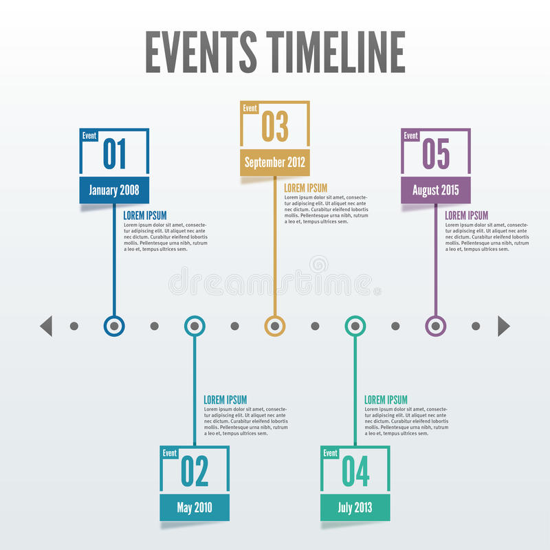 O espaço temporal Infographic de 5 eventos do ponto - vetor ilustração royalty free