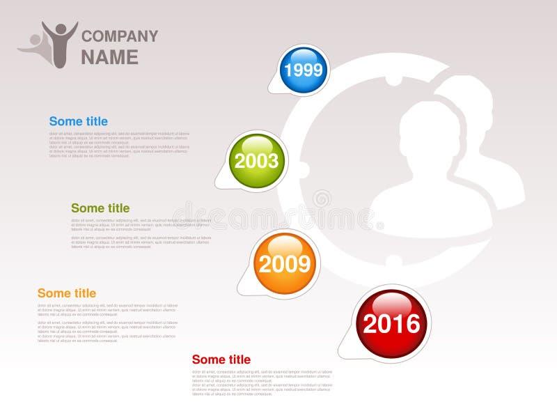 O espaço temporal Molde de Infographic para a empresa O espaço temporal com os marcos miliários coloridos - azuis, verde, alaranj ilustração stock