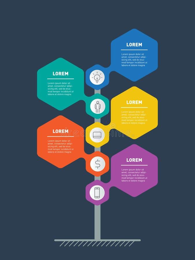 O espaço temporal vertical Infographics A linha de tempo de tendências e tren ilustração stock