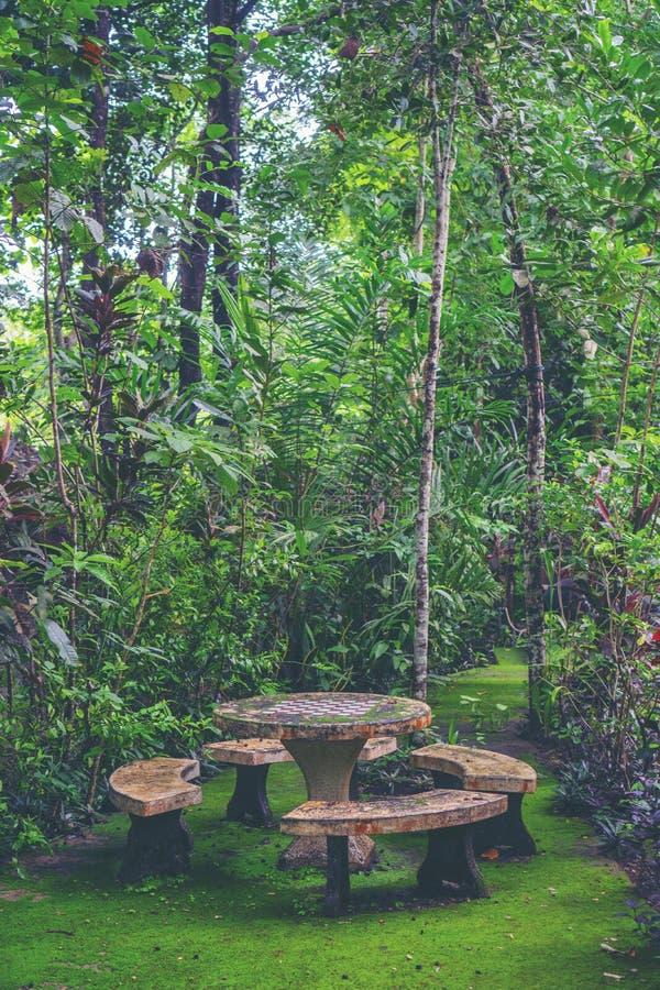 O espaço verde, tabela ajustou-se no jardim foto de stock royalty free