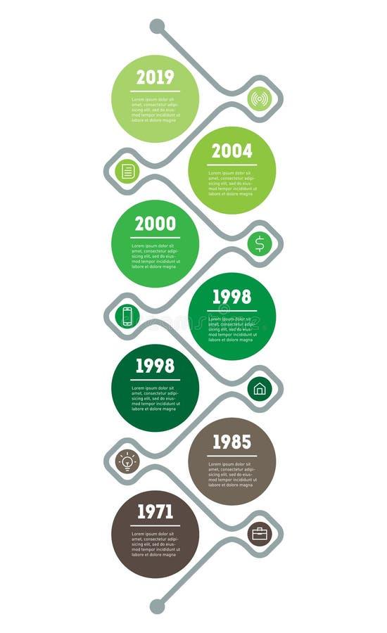 O espa?o temporal vertical Infographics O desenvolvimento e o crescimento do neg?cio verde ?rvore de tend?ncias sociais Apresenta ilustração royalty free