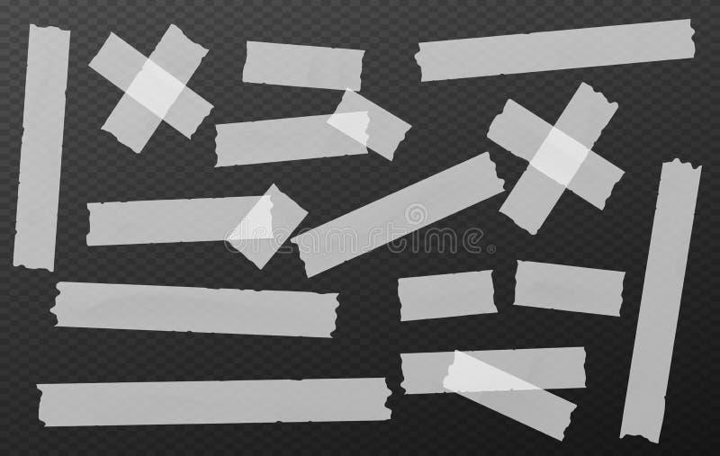O esparadrapo branco, pegajoso, mascarando, fita adesiva descasca partes para o texto no fundo preto das formas do retângulo ilustração do vetor