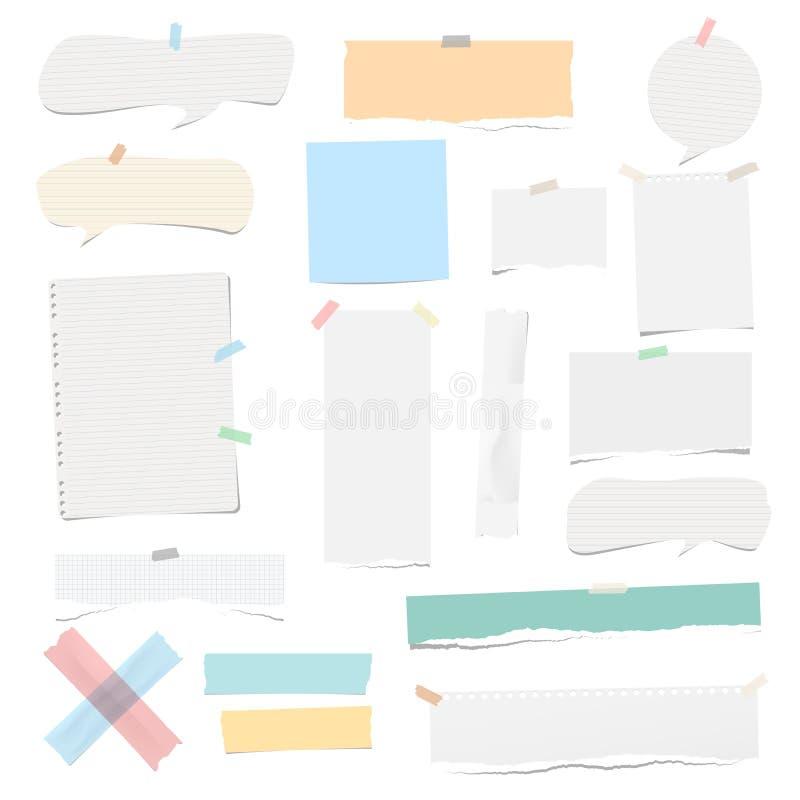 O esparadrapo colorido e branco, pegajoso, mascarando, fita adesiva remenda a nota rasgada, papel do caderno, bolhas do discurso  ilustração do vetor