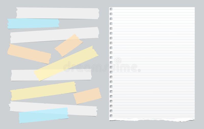O esparadrapo colorido, fita pegajosa com branco alinhou o papel do bloco de notas da nota no fundo cinzento Ilustração do vetor ilustração stock