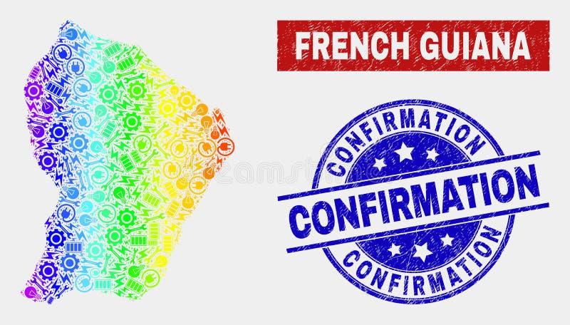 O espectro monta o mapa da Guiana Francesa e aflige selos da confirmação ilustração royalty free